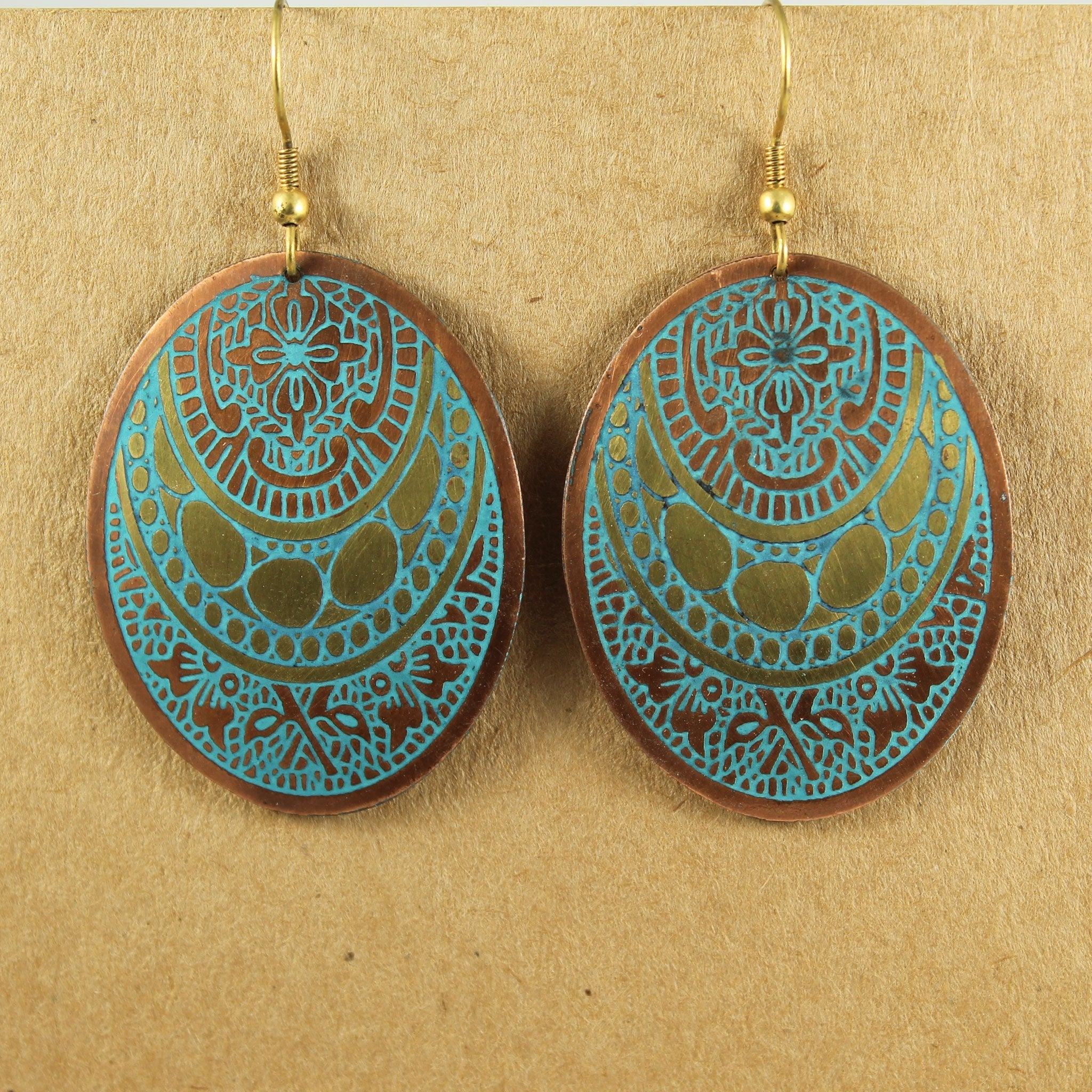 Decorated Turquoise Oval Earrings | Earrings - The Naughty Shrew