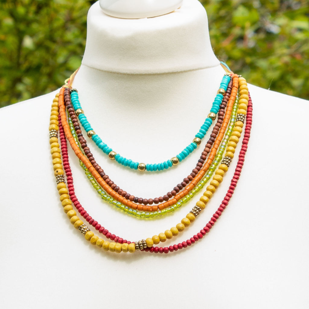 Colourful Multi Strand Necklace - The Naughty Shrew