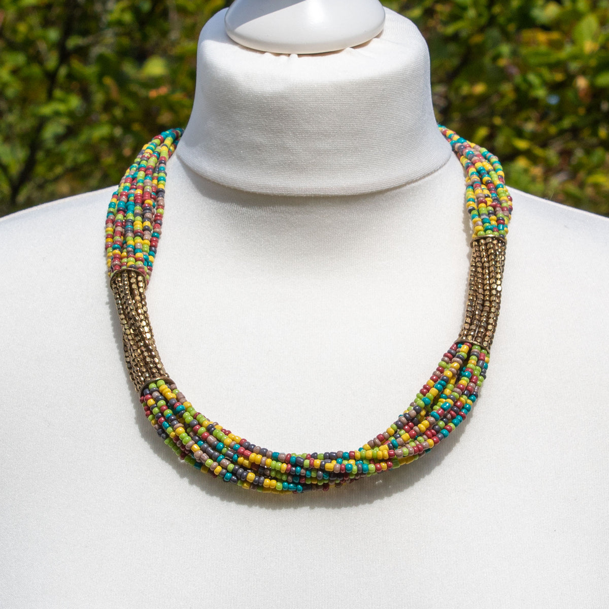 Gold & Multicoloured Glass Bead Necklace | Necklace - The Naughty Shrew