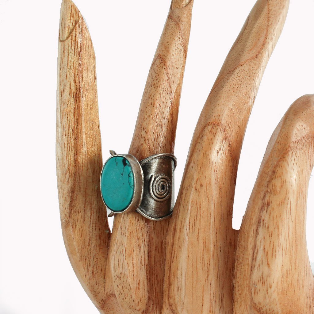 Metal ring with large turquoise stone | Ring - The Naughty Shrew