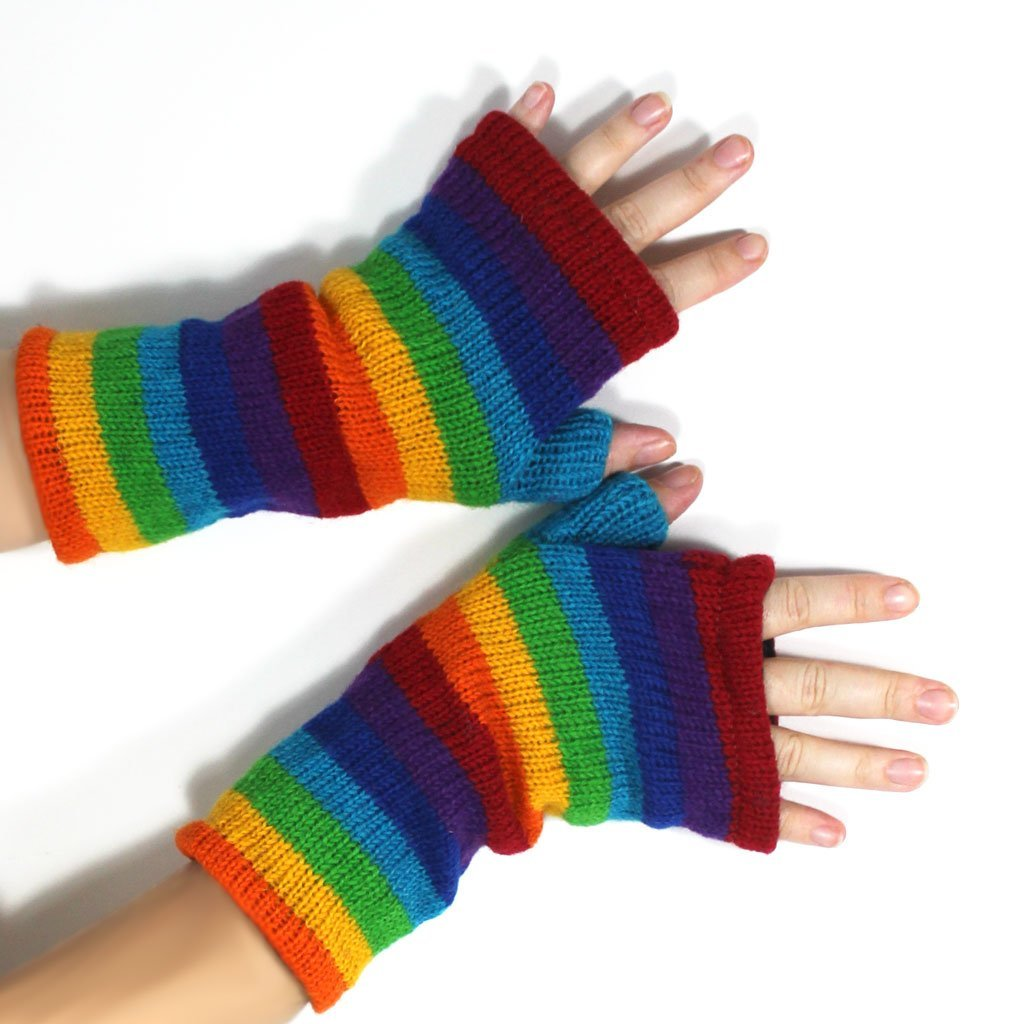 Rainbow fingerless gloves | Gloves - The Naughty Shrew