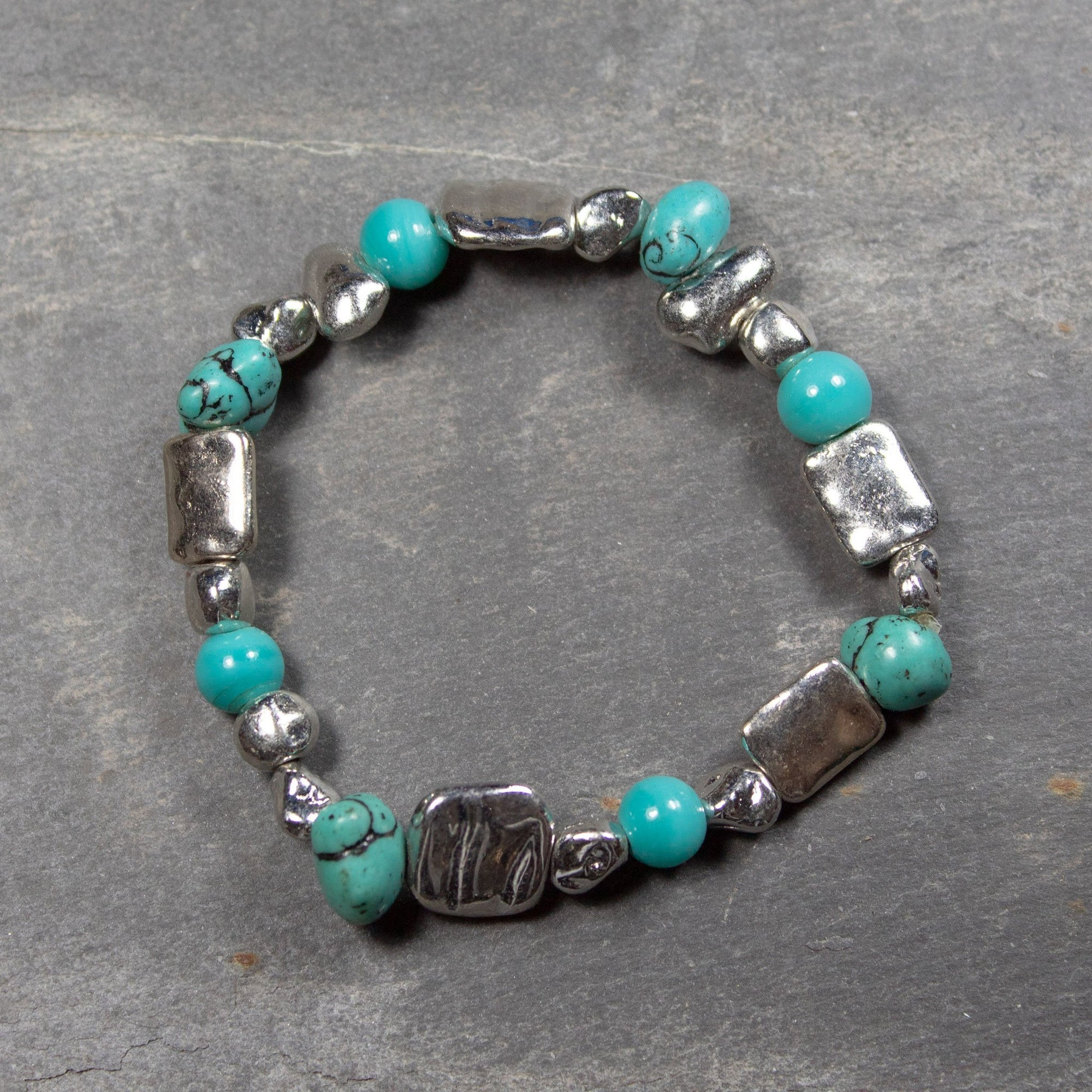 Turquoise Stone & Metal Bead Bracelet | Bracelet - The Naughty Shrew