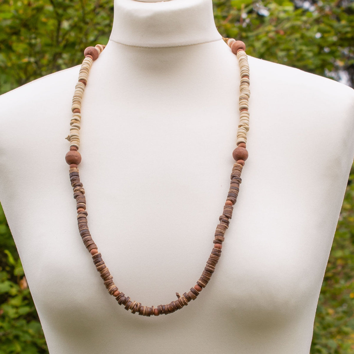 Cream & Brown Wooden Bead Necklace | Necklace - The Naughty Shrew