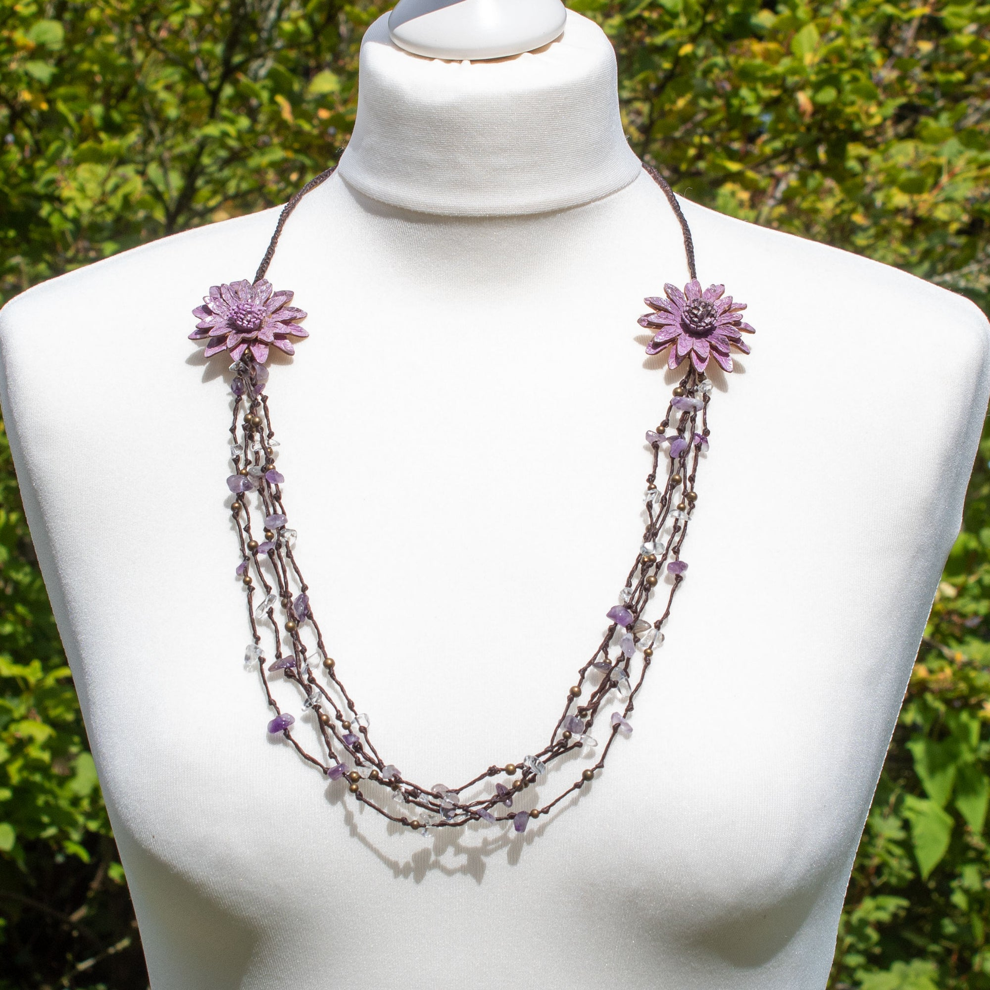 Purple Crystal Bead & Leather Flower Necklace | Necklace - The Naughty Shrew