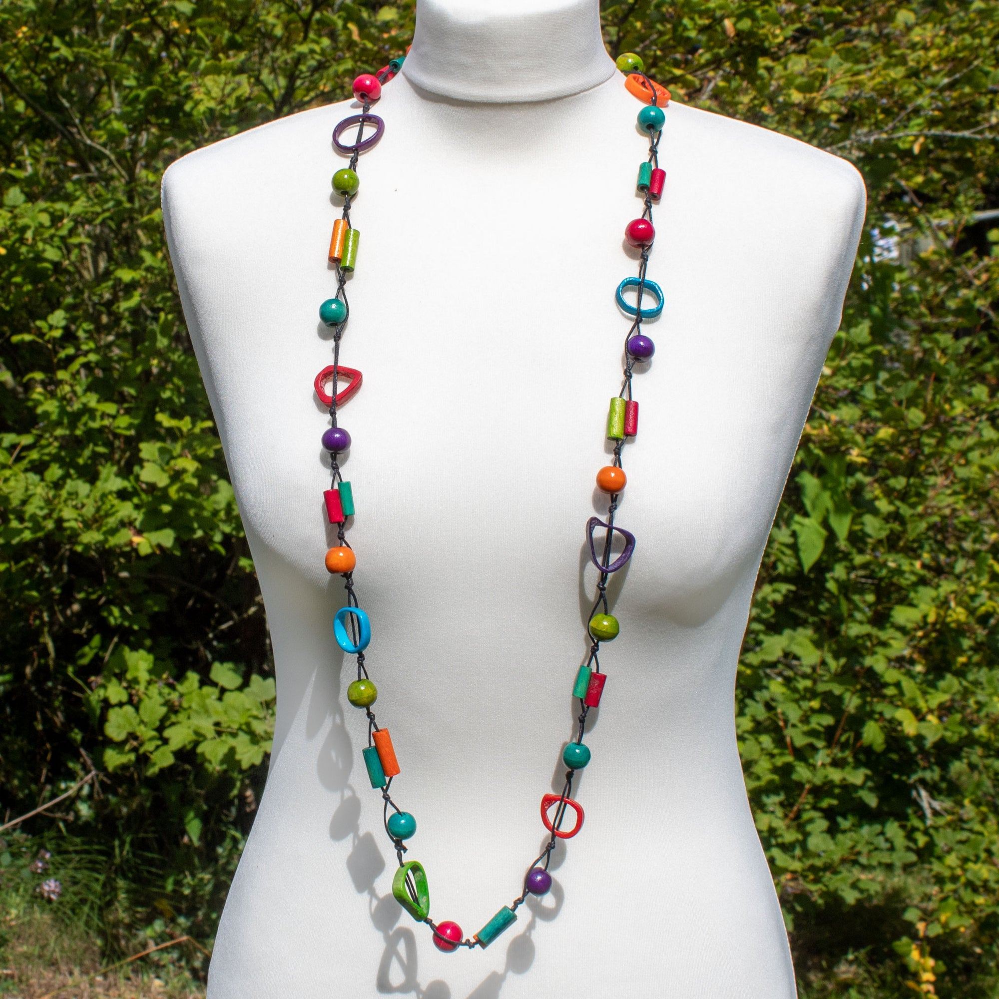 Mixed Shape & Multi-Colour Wooden Bead Necklace - Orange | Necklace - The Naughty Shrew