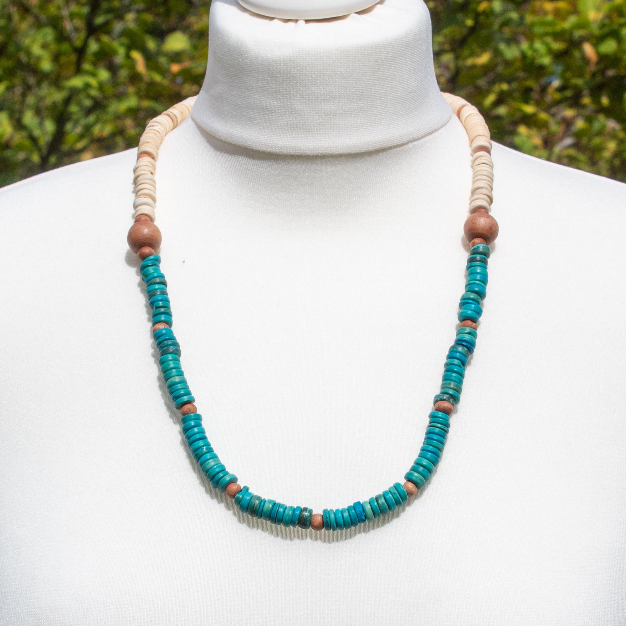 Cream & Turquoise Wooden Bead Necklace | Necklace - The Naughty Shrew