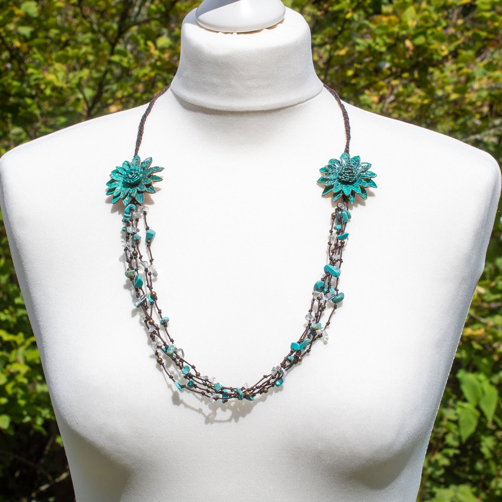 Turquoise Crystal Bead & Leather Flower Necklace | Necklace - The Naughty Shrew
