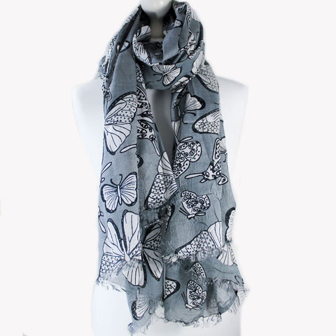 Grey & White Butterfly Print Scarf - the naughty shrew