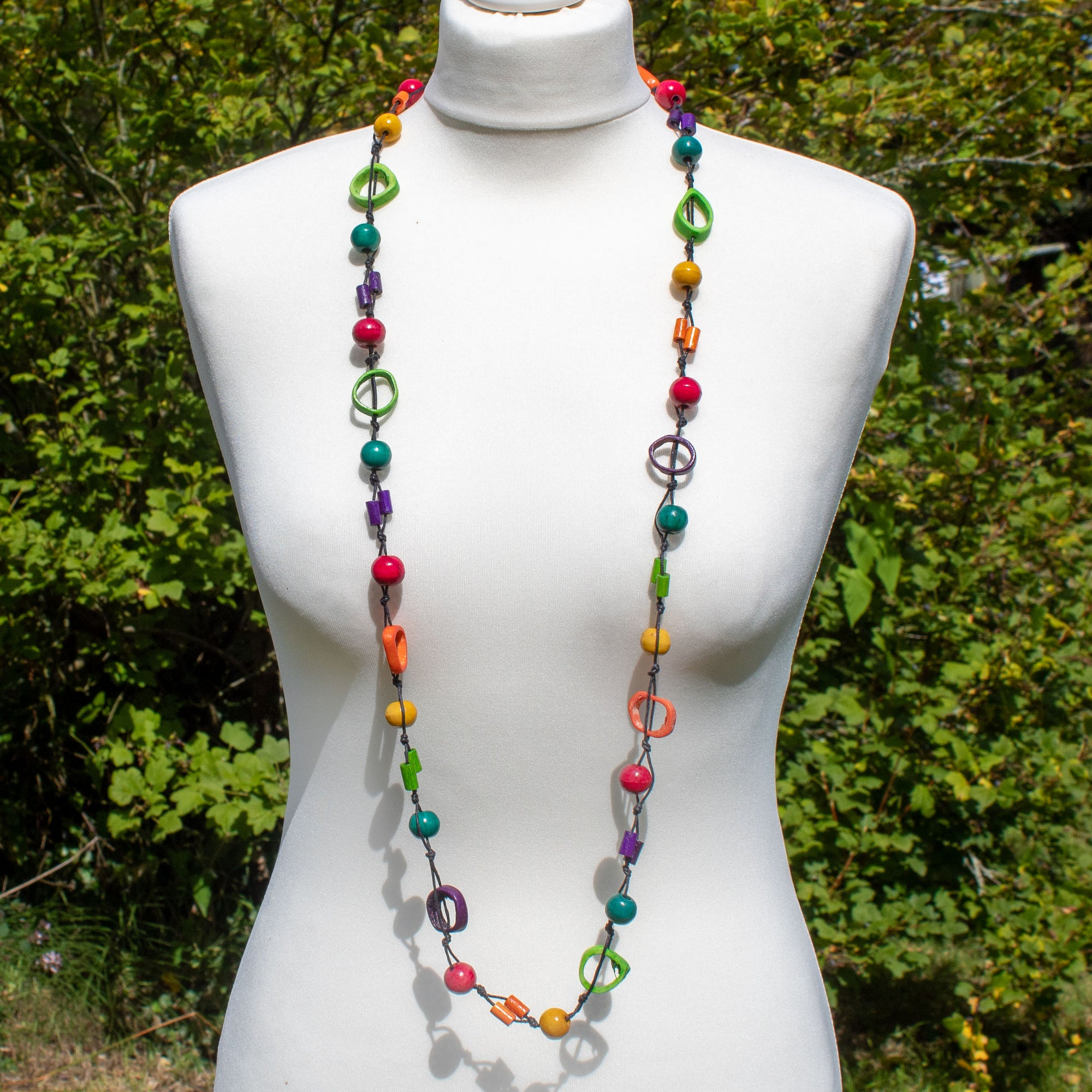 Mixed Shape & Multi-Colour Wooden Bead Necklace - Yellow | Necklace - The Naughty Shrew