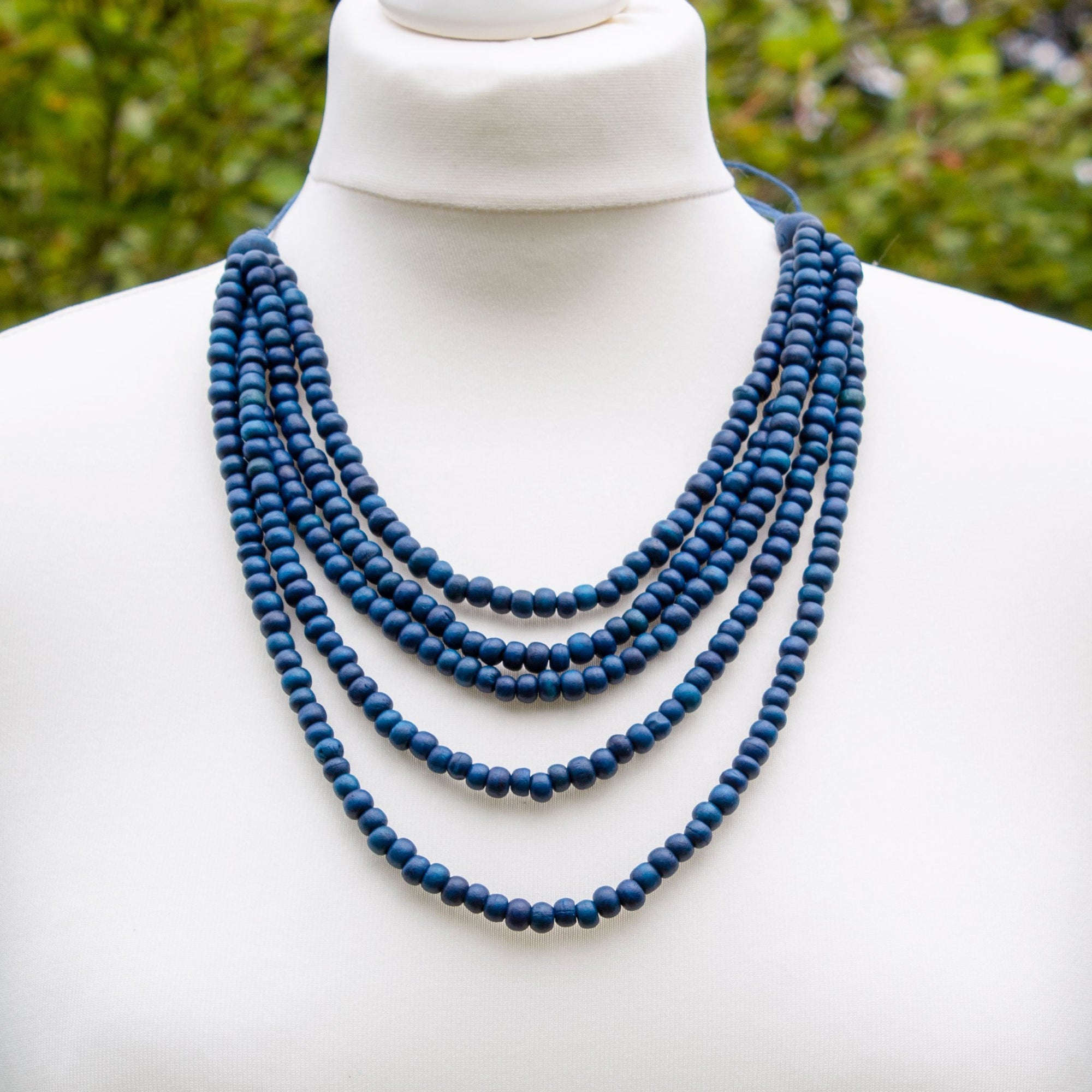Dark Blue Multi Strand Wooden Bead Necklace | Necklace - The Naughty Shrew