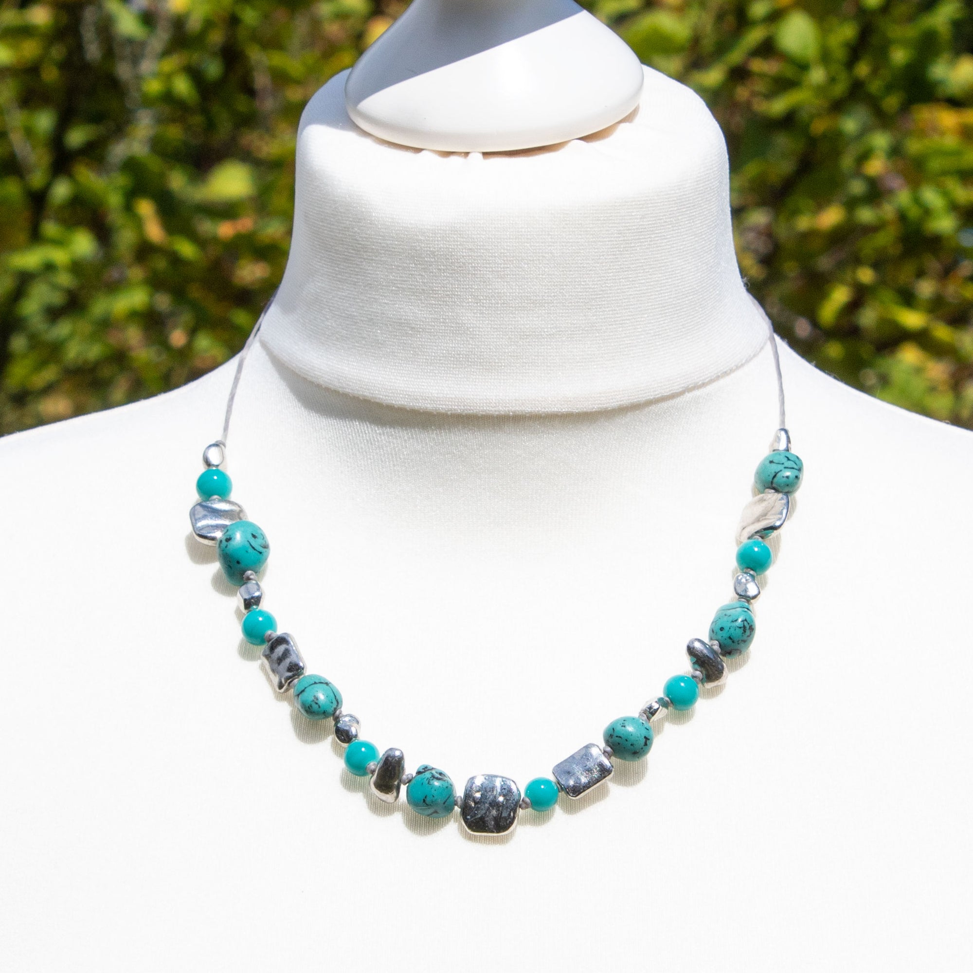 Turquoise Stone & Metallic Bead Necklace | Necklace - The Naughty Shrew