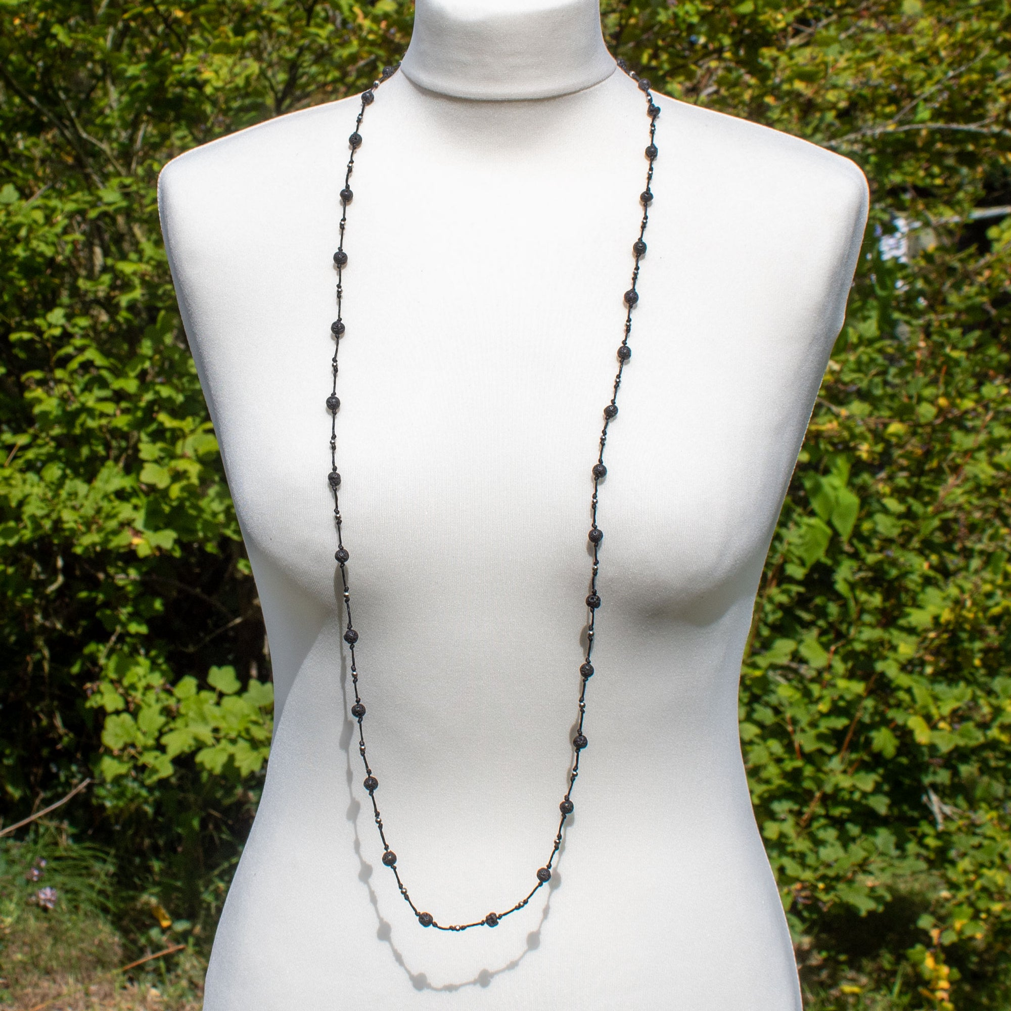 Long Lava Stone Bead Necklace | Necklace - The Naughty Shrew
