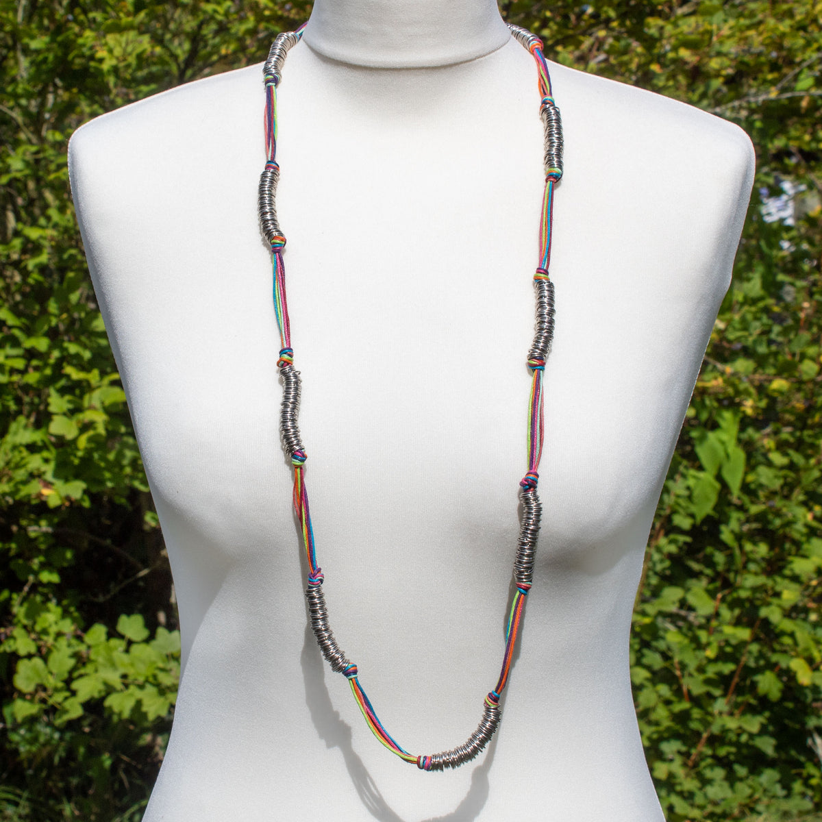 Rainbow Cord & Metallic Silver Ring Necklace | Necklace - The Naughty Shrew