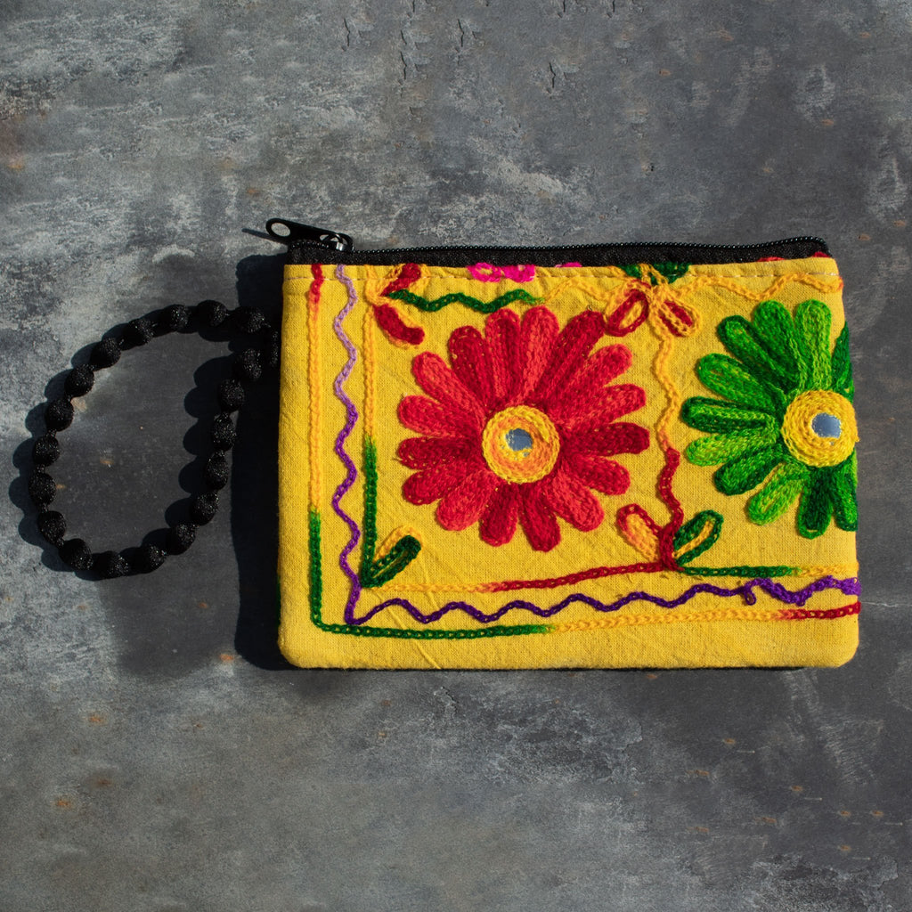 Embroidered Flower Purse - Yellow | Purse - The Naughty Shrew