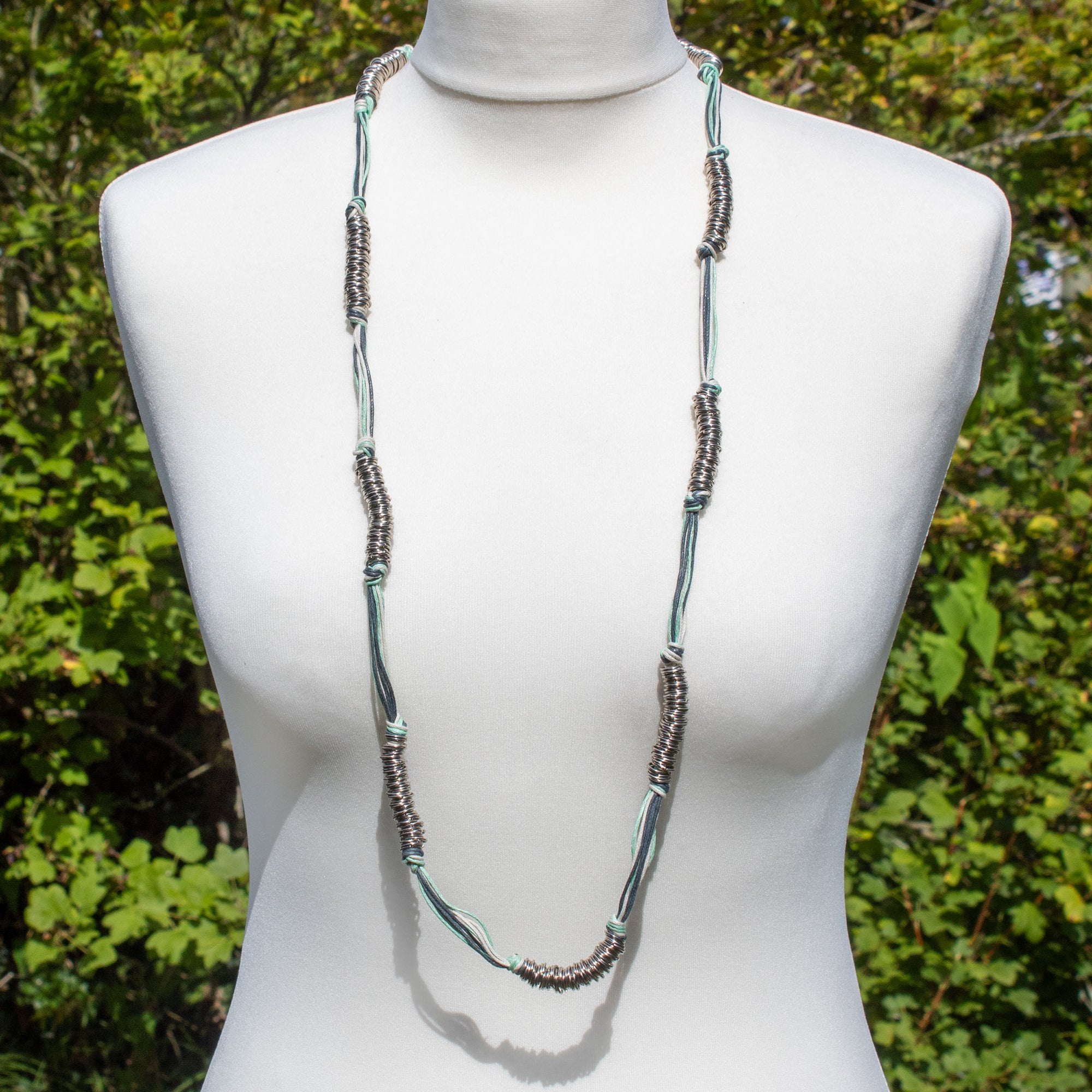 Mint Green & Blue Cord & Metallic Silver Ring Necklace | Necklace - The Naughty Shrew