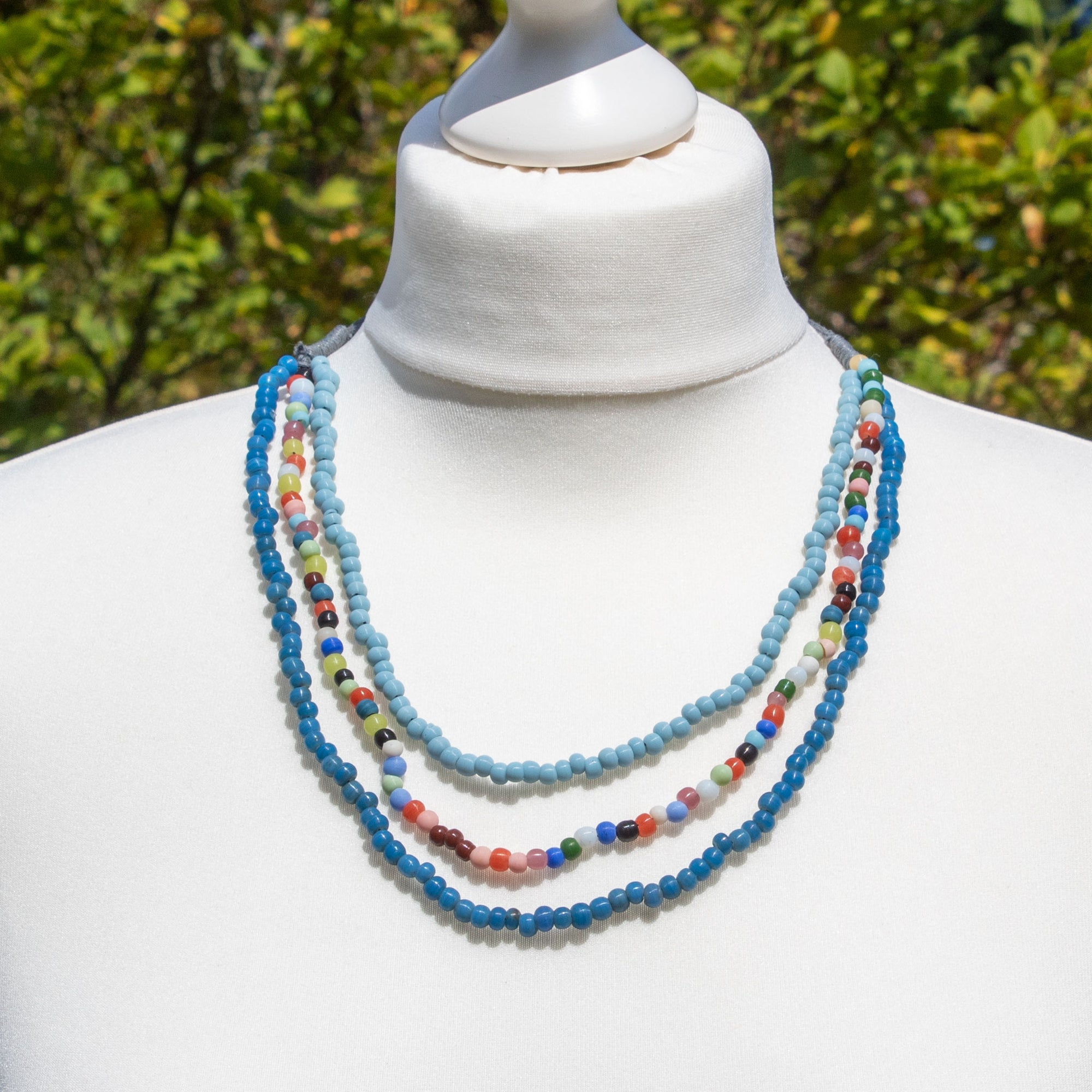 Blue & Multicolour Glass Bead Necklace | Necklace - The Naughty Shrew