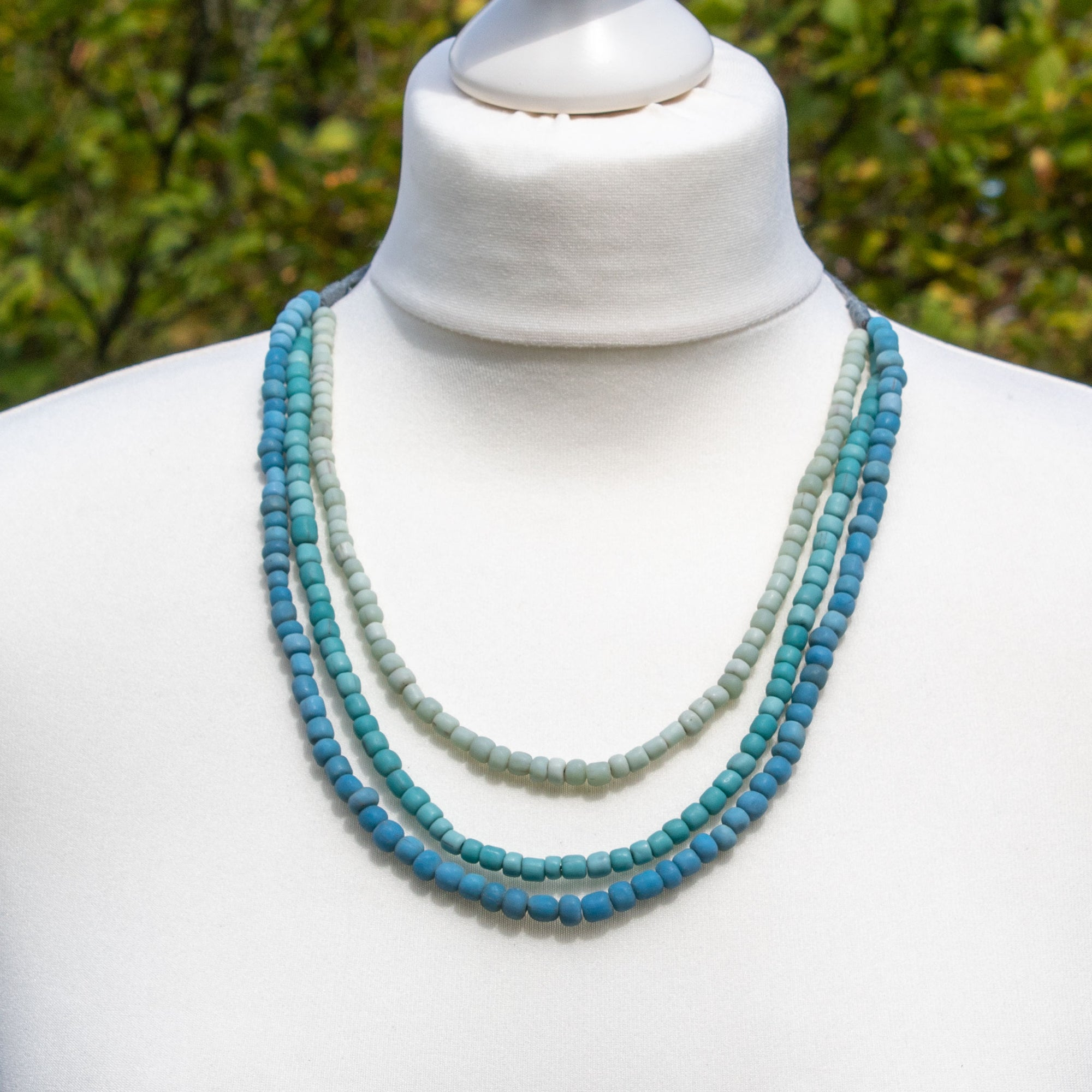 Pale Blue & Turquoise Glass Bead Necklace | Necklace - The Naughty Shrew