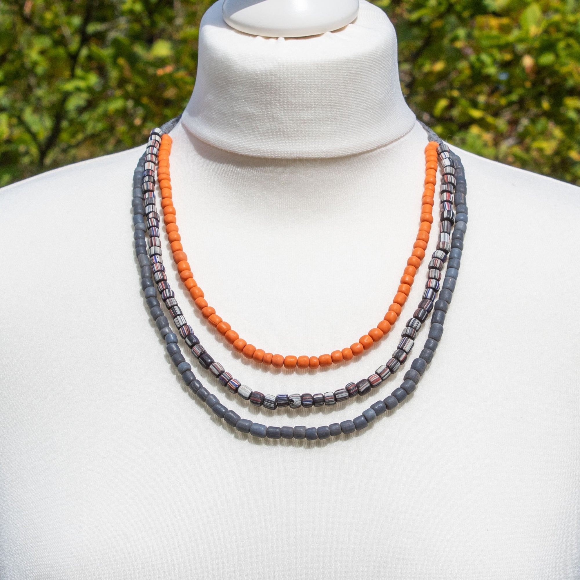 Orange & Grey Glass Bead Necklace | Necklace - The Naughty Shrew