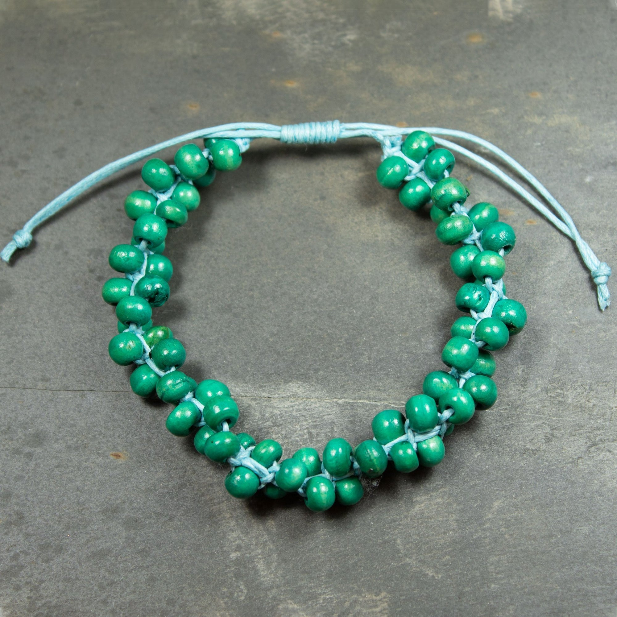 Green Wooden Bead Bracelet | Bracelet - The Naughty Shrew