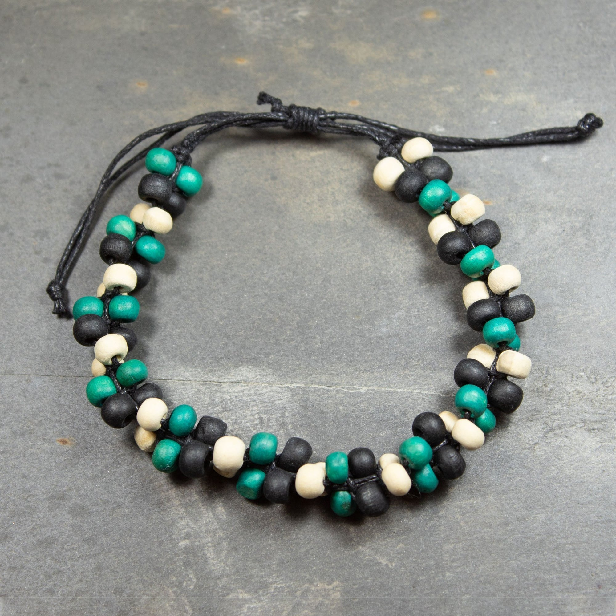 Green, Black & Green Wooden Bead Bracelet | Bracelet - The Naughty Shrew