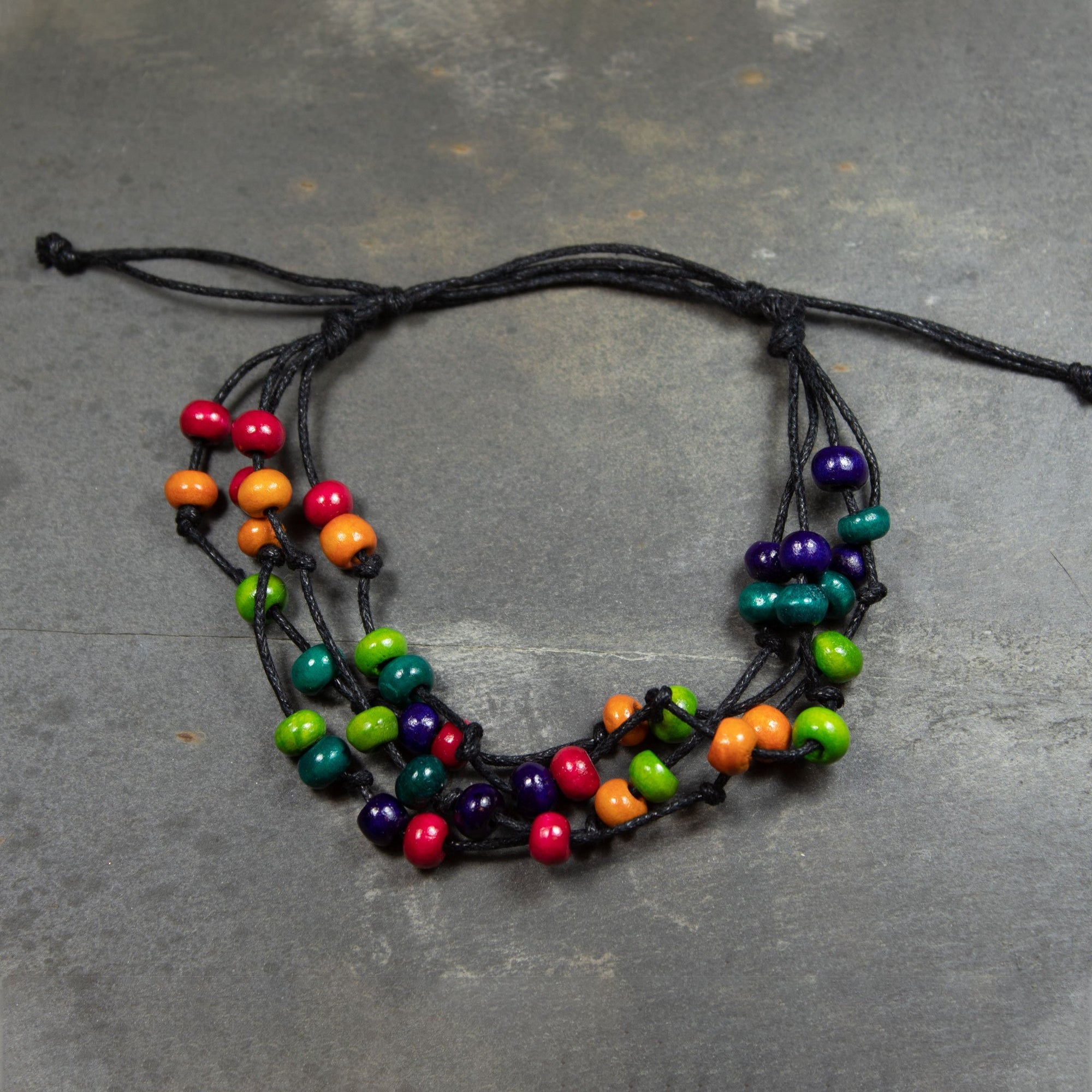 Wooden Bead & Multi-Strand Cord Bracelet | Bracelet - The Naughty Shrew