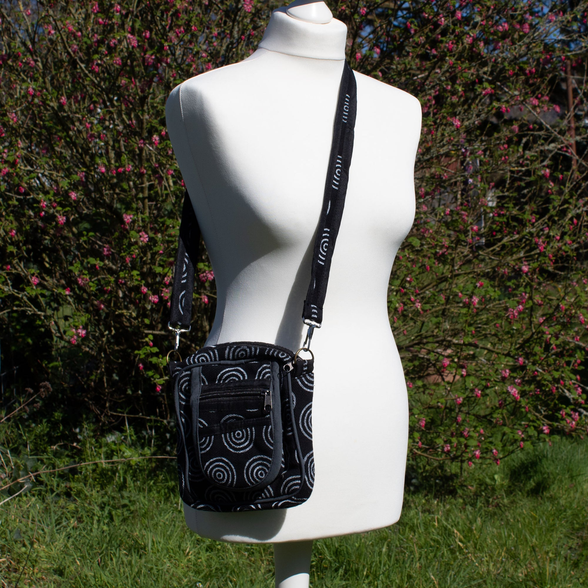 Cross Body Bag - Charcoal Black Circle Fabric | Bag - The Naughty Shrew