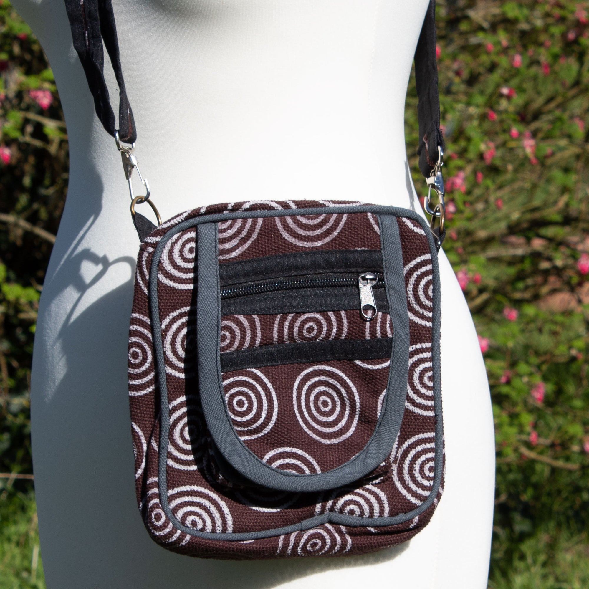 Cross Body Bag - Brown Circle Fabric | Bag - The Naughty Shrew