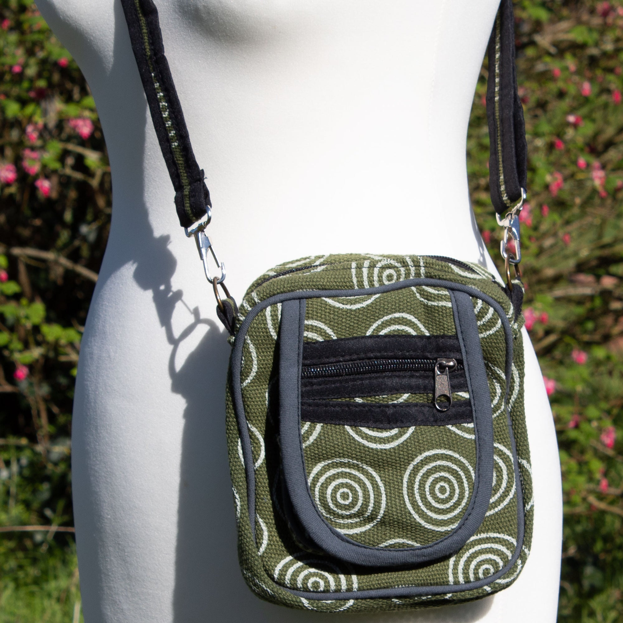 Cross Body Bag - Green Circle Fabric | Bag - The Naughty Shrew