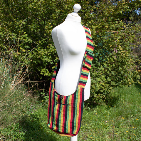 Large Gheri Cotton Bag - Yellow, Green, Black & Red Stripe - the naughty shrew