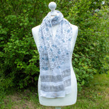 Batik White Cotton Scarf With Blue Flowers - the naughty shrew