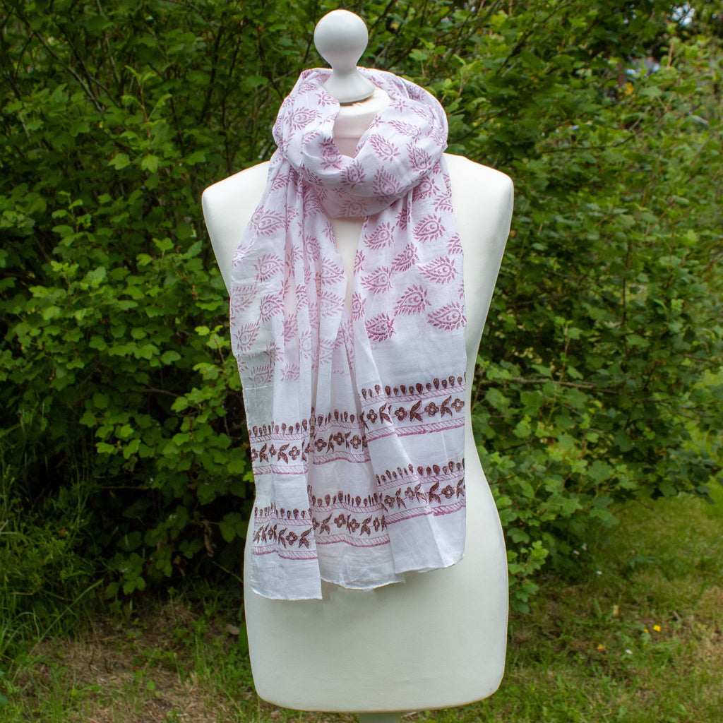 White Cotton Scarf With Pink Paisley Batik | Scarf - The Naughty Shrew