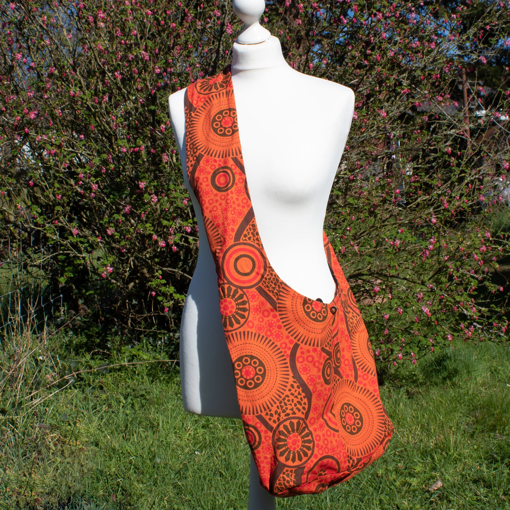 Large Shoulder Bag - Orange Fabric | Bag - The Naughty Shrew
