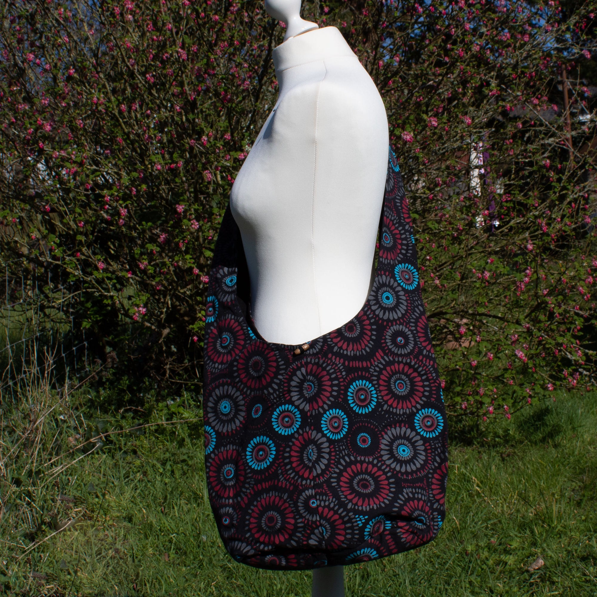 Large Shoulder Bag - Red & Blue Circles Fabric | Bag - The Naughty Shrew