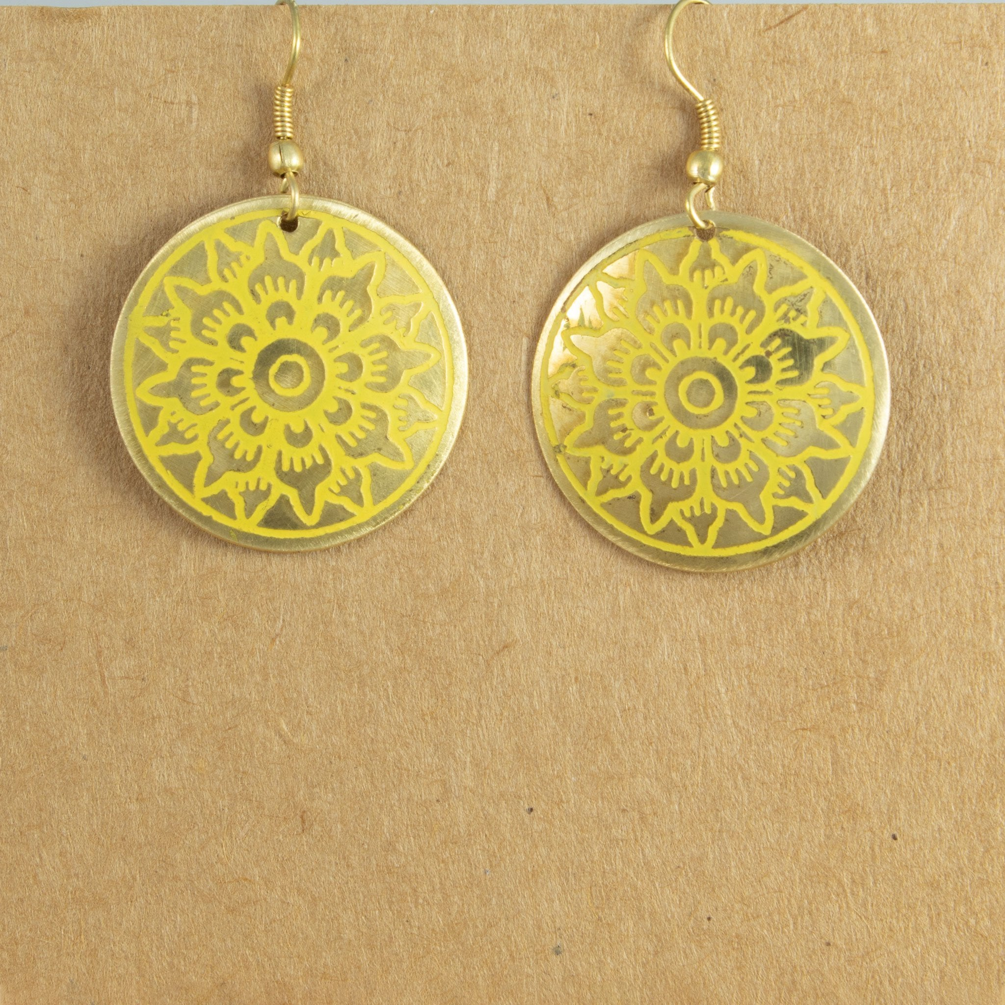 Gold coloured metal earrings with yellow inlay | Earrings - The Naughty Shrew
