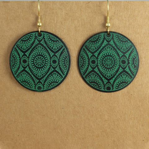 Turquoise & Black Circle Earrings - the naughty shrew