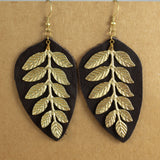 Gold Metal & Leather Leaf Earrings | Earrings - The Naughty Shrew