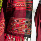 Woven Warm Scarf/Shawl - Red & Black | Scarf - The Naughty Shrew