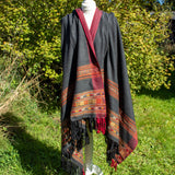 Woven Warm Scarf/Shawl - Dark Grey & Red | Scarf - The Naughty Shrew