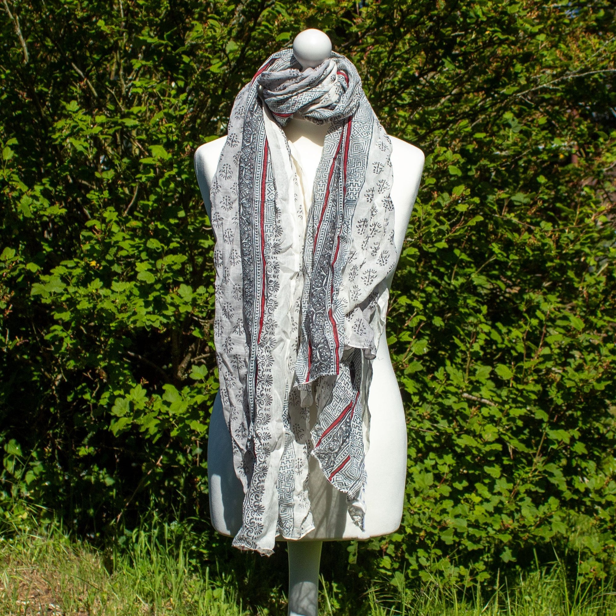 Grey & White Scarf | Scarf - The Naughty Shrew