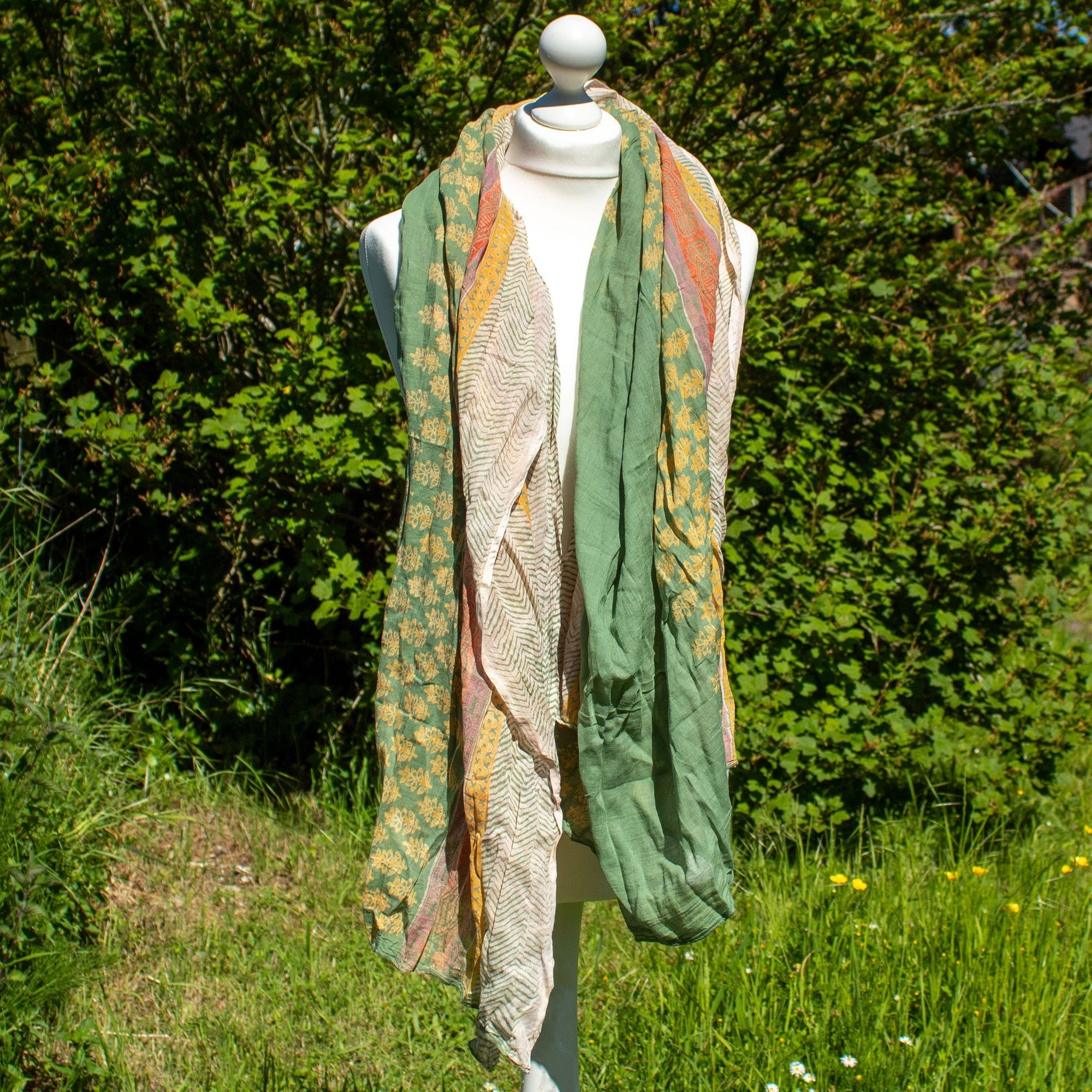 Green, Orange & Yellow Scarf | Scarf - The Naughty Shrew