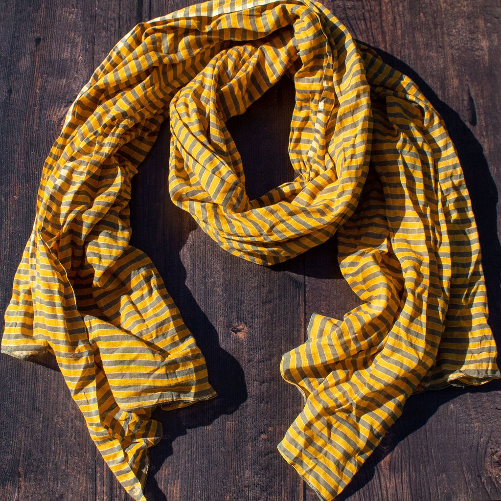 Orange & Grey Stripy Scarf | Scarf - The Naughty Shrew