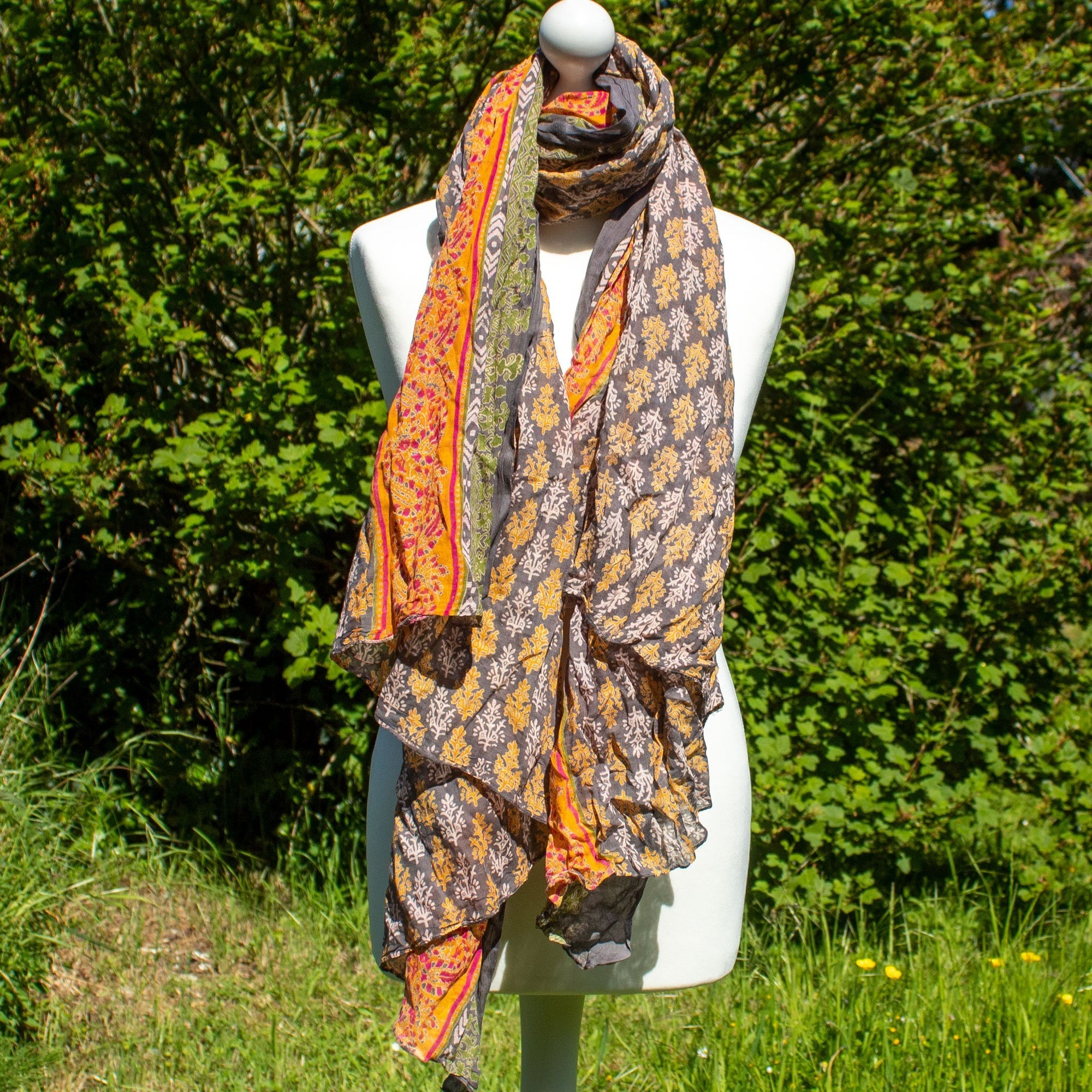 Orange & Grey Flower Scarf | Scarf - The Naughty Shrew