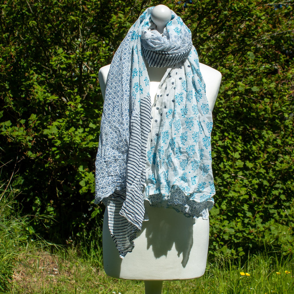 Blue & White Scarf | Scarf - The Naughty Shrew