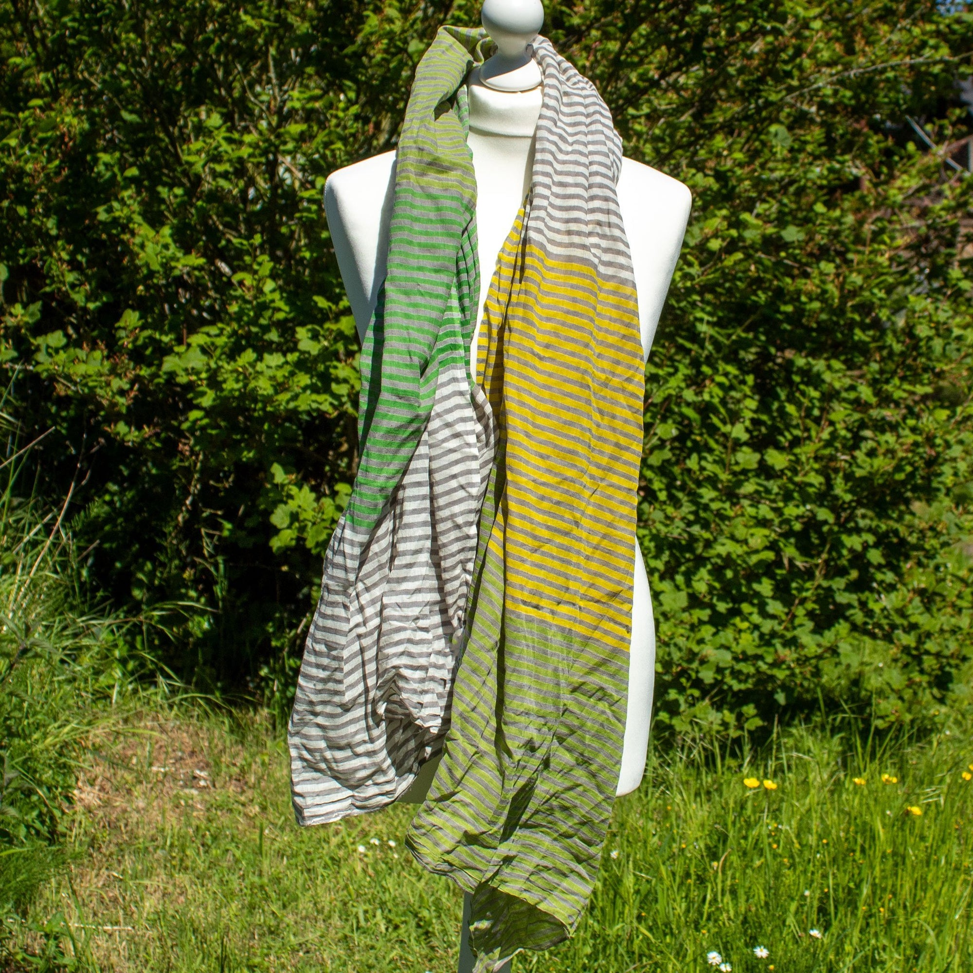 Green & Yellow Stripy Scarf | Scarf - The Naughty Shrew