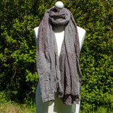 Purple-Grey & White Spots & Stripes Scarf - The Naughty Shrew