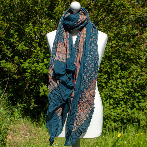 Teal Flowers Scarf | Scarf - The Naughty Shrew