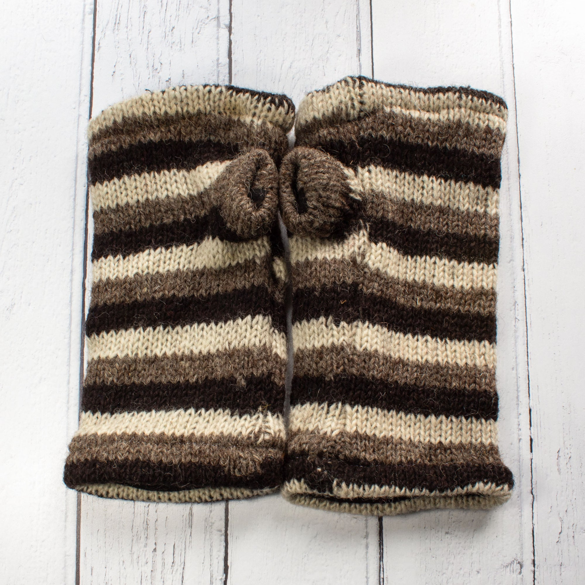 Grey & Cream Stripy Fingerless Gloves | Gloves - The Naughty Shrew
