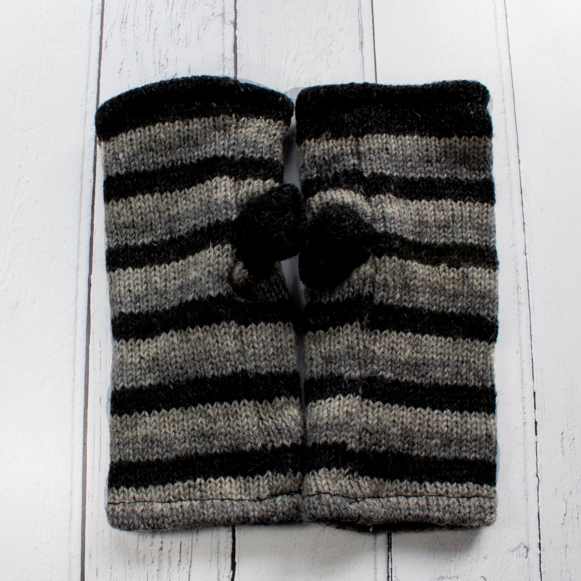 Dark Grey Stripy Fingerless Gloves | Gloves - The Naughty Shrew