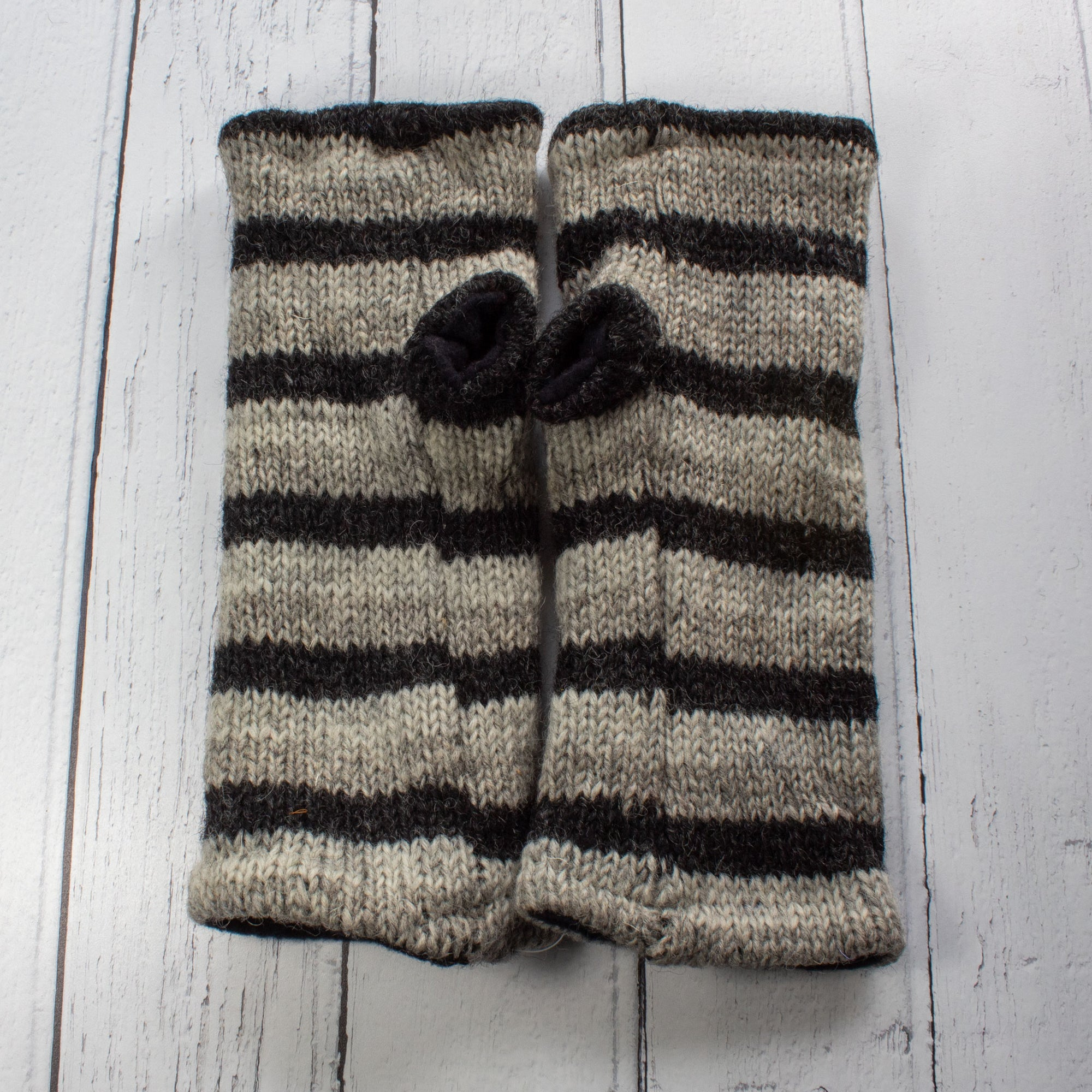 Light Grey Stripy Fingerless Gloves | Gloves - The Naughty Shrew