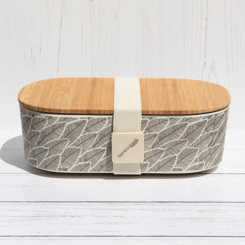 Bamboo Lunch Box - Black & White Leaves - the naughty shrew
